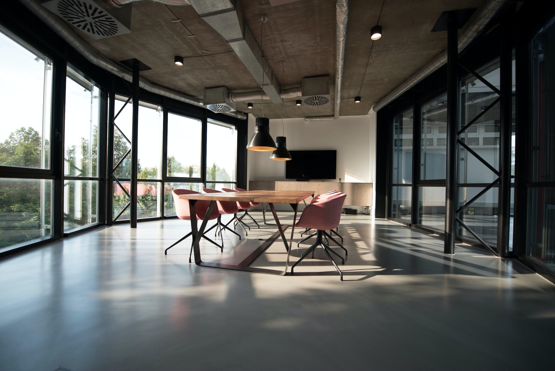 Conference table in a large modern office